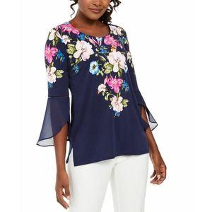 Navy Blue Floral Blouse Studs Bell Sleeve Sz XXL